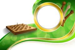 Schachspiel-Brauns des Hintergrundes stellt beige Brett des abstrakten grünes Goldkreisrahmenillustration dar Lizenzfreie Stockfotos