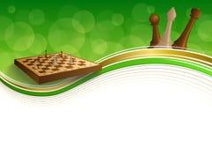 Schachspiel-Brauns des Hintergrundes stellt beige Brett des abstrakten grünes Goldrahmenillustration dar Lizenzfreie Stockfotos