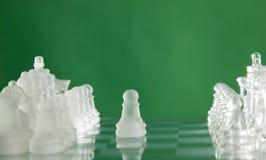 Schachspielabbildungen auf grünem Hintergrund Stockfotos