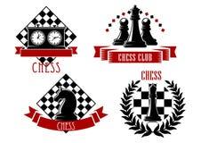 Schachspielsportembleme und -ikonen Stockfotografie