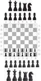 Schachstücke und Schachbrett stockfoto
