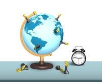 Schachstand auf Erdkugel mit Uhr Stockfoto
