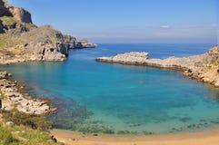 Schacht in Lindos. Die Insel von Rhodos. Lizenzfreie Stockfotografie