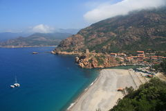 Schacht von Porto Korsika stockfotos