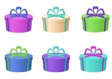 Schachtelt mehrfarbiges, rund Stockbilder
