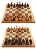 Schachvorstand mit der ersten Bewegung getrennt auf Weiß Lizenzfreie Stockfotografie