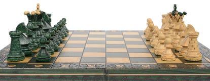Schachvorstand und -stücke stockbilder