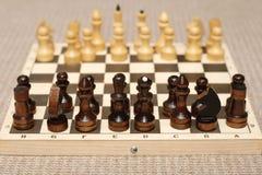 Schachzahlen auf Schachbrett Stockfotografie