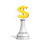 schack för pengar 3D av guld- dollarvaluta Arkivfoton