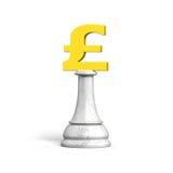 schack för pengar 3D av guld- pundvaluta Royaltyfria Foton