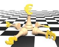 schack för pengar 3D med guld- eurovalutakonung Arkivfoto