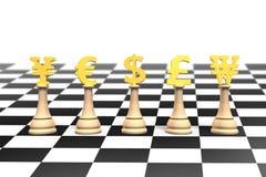 schack för pengar 3D med guld- valutasymbol Arkivfoto