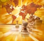 Schack för strategi för planläggningsaffär globalt Royaltyfri Foto