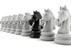 Schack för svart riddare bland schack för vit riddare Royaltyfri Foto