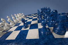 Schack: första flyttning arkivbild