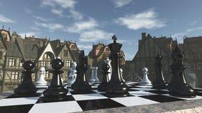 Schack i den medeltida omgivningen royaltyfri bild