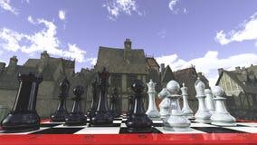Schack i den medeltida omgivningen royaltyfri foto