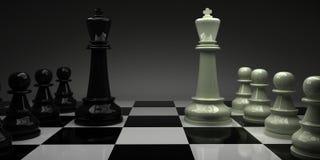 schack konungar med deras arméer Royaltyfria Bilder