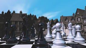 Schack och den medeltida staden royaltyfri foto