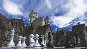 Schack och den medeltida staden Arkivfoton