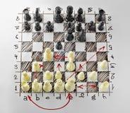schack Vitt bräde med schackdiagram på det Royaltyfri Foto