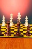 Schackbegrepp med stycken Royaltyfri Bild