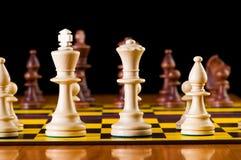 Schackbegrepp med stycken Fotografering för Bildbyråer