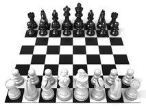 Schackbräde med alla schackstycken Arkivbild