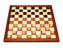 Schackbräde med gjorde mellanslag kontrollörer Royaltyfria Bilder