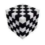 Schackbräde/svartvit kulör kub som isoleras på vit 3D Royaltyfria Foton