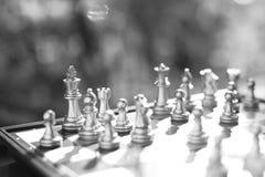 Schackbrädelek, vinnare som segrar läget, allvarlig fiende för möte, konkurrenskraftigt begrepp för affär arkivfoton
