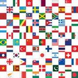 Schackbrädemodell med världsflaggor Arkivfoton
