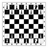 Schackbrädemonokromillustration Royaltyfri Foto