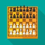 Schackdiagram och brädeuppsättning i plan stil Fotografering för Bildbyråer