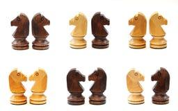 Schackhästar i olik position royaltyfri fotografi