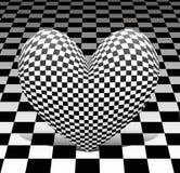 Schackhjärta på schackbakgrunden Royaltyfri Fotografi
