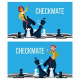 Schackmatt begreppsvektor Den affärsmannen och kvinnan gör schackmattt ombord Victory Challenge illustration vektor illustrationer