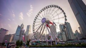 Schackningsperiod för tid för panorama 4k för hjul för solnedgånghimmelHong Kong fjärd Kina stock video