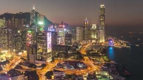 Schackningsperiod för tid för panorama 4k för trafik för hjul för fjärd för Hong Kong solnedgångtak Kina stock video