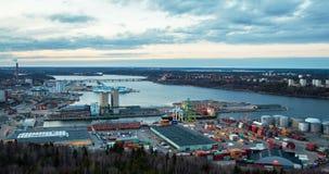 Schackningsperiod för tid för Stockholm solnedgångport arkivfilmer