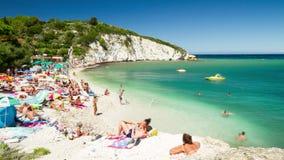 schackningsperiod för tid 4K, strand på den Isola d'Elbaen, Italien stock video
