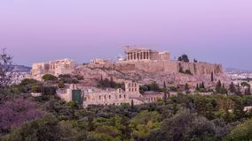 Schackningsperiod för tid för sidosikt av akropolmiddagen till natten lager videofilmer