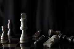 Schackstycken av konunganseende på en schackbräde Royaltyfri Foto