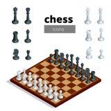 Schacksymboler Plan isometrisk illustration för vektor 3d Vitt bräde med schackdiagram på det Intelligent strategisk lek Arkivbilder