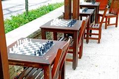 Schackuppsättningar utomhus Royaltyfri Bild