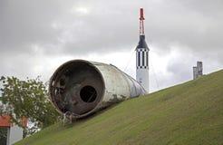 Schade aan raket in park van wetenschap na orkaan Maria Bayamon Puerto Rico royalty-vrije stock afbeelding
