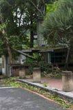 Schade door de Tyfoon Soulik aan de stad die van Taipeh wordt aangericht Stock Fotografie