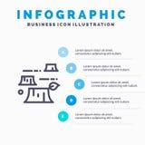 Schade, Ontbossing, Vernietiging, het pictogram van de Milieulijn met infographicsachtergrond van de 5 stappenpresentatie vector illustratie