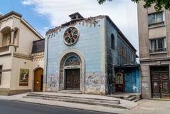 Schade op oude kerk tijdens de aardbeving van 2010 in Santiago, Royalty-vrije Stock Afbeelding