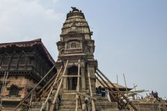 Schade van belangrijke aardbeving in 2015 bij het Vierkant van Katmandu Durbar, Nepal Stock Foto's
